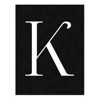Monogram Letter K Postcard