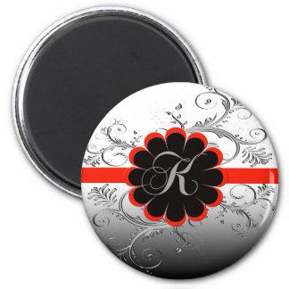 Monogram Letter K Red 2 Inch Round Magnet