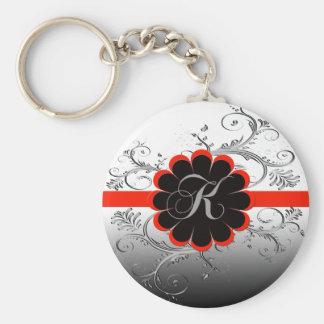 Monogram Letter K Red Keychain