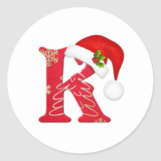 Monogram letter K, Santa hat Christmas  Sticker