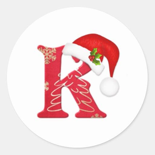 Monogram Letter K Santa Hat Christmas Sticker Zazzle