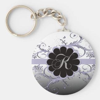 Monogram Letter K Violet Keychain