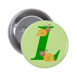 Monogram letter L brian the snail kids button, pin