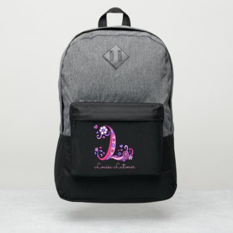 Monogram letter L hearts flower custom name Port Authority® Backpack
