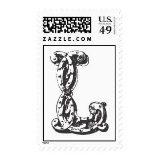Monogram Letter L in Black Postage Stamps