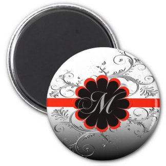 Monogram Letter M 2 Inch Round Magnet