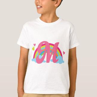 Monogram Letter M Alphabet Rainbow T-Shirt