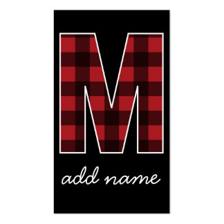 Monogram Letter M - Black and Red Buffalo Plaid Business Card