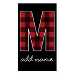 Monogram Letter M - Black and Red Buffalo Plaid Double-Sided Standard Business Cards (Pack Of 100)