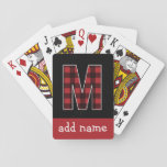 "Monogram Letter M - Black and Red Buffalo Plaid Playing Cards<br><div class=""desc"">A trendy design with a checkered pattern and black background. You can add your name or monograms.</div>"