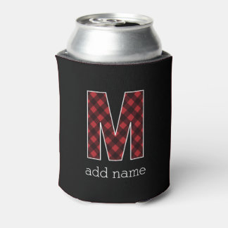 Monogram Letter M - Black and Red Buffalo Plaid Can Cooler