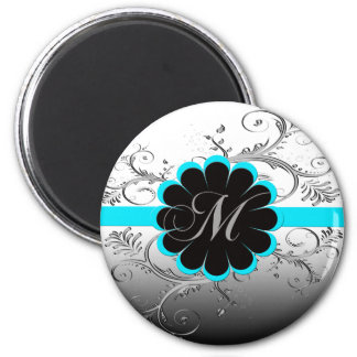 Monogram Letter M Blue 2 Inch Round Magnet
