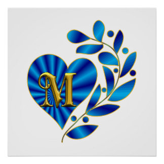 M Letter In Heart Initial M Poste...