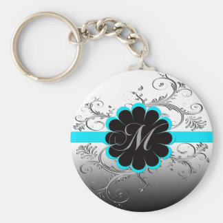 Monogram Letter M Blue Keychain
