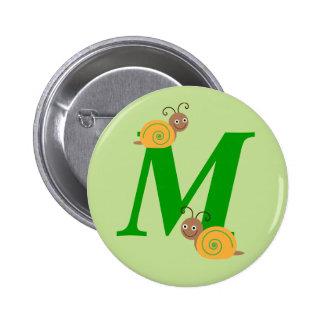 Monogram letter M brian the snail kids button, pin