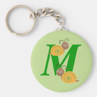 Monogram letter M brian the snail kids keychain