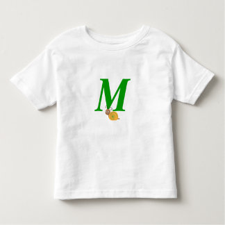 Monogram letter M brian the snail toddler t-shirt