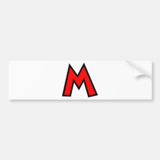 Monogram Letter M Car Bumper Sticker