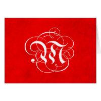 Monogram Letter M Christmas Parchment Red Card