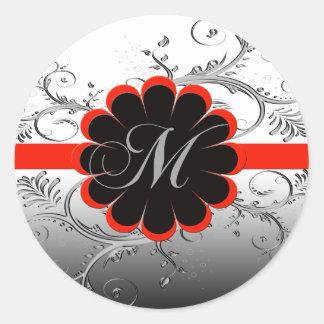 Monogram Letter M Classic Round Sticker