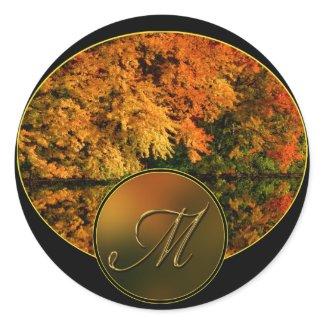 Monogram Letter M Fall Wedding Envelope Seals sticker