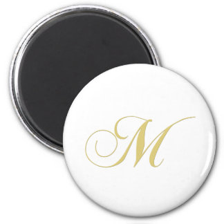 Monogram Letter M Golden Single 2 Inch Round Magnet