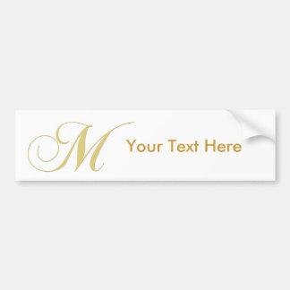 Monogram Letter M Golden Single Bumper Sticker