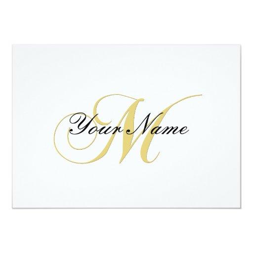 Monogram Letter M  Golden Single Card