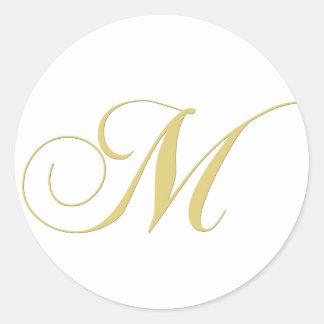 Monogram Letter M Golden Single Classic Round Sticker