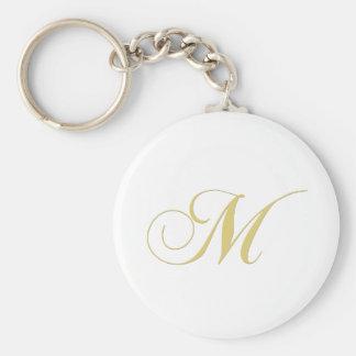 Monogram Letter M Golden Single Basic Round Button Keychain