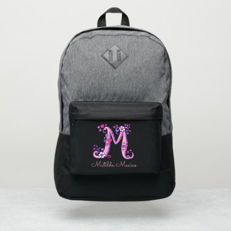 Monogram letter M hearts flower custom name Port Authority® Backpack