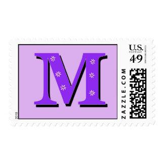 Monogram Letter M Postage Stamp