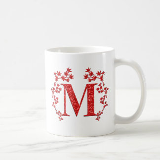 Monogram Letter M Red Leaves Coffee Mug