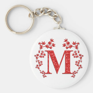 Monogram Letter M Red Leaves Basic Round Button Keychain