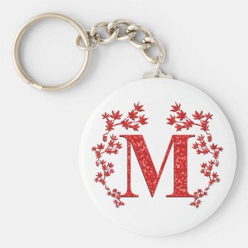 Monogram Letter M Red Leaves Keychains