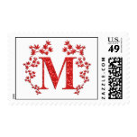 Monogram Letter M Red Leaves Postage
