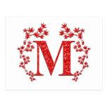 Monogram Letter M Red Leaves Postcard