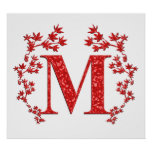 Monogram Letter M Red Leaves Posters