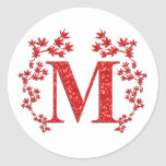 Monogram Letter M Red Leaves Round Stickers