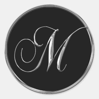 Monogram Letter M Sliver On Black Wedding Seal Classic Round Sticker