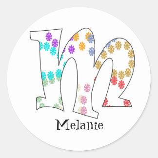 Monogram Letter M Sticker Flowers