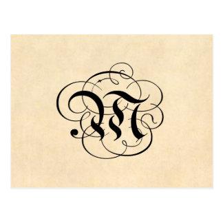 Monogram Letter M Vintage Parchment Paper Postcard
