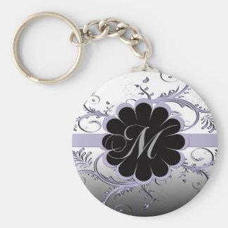 Monogram Letter M Violet Basic Round Button Keychain