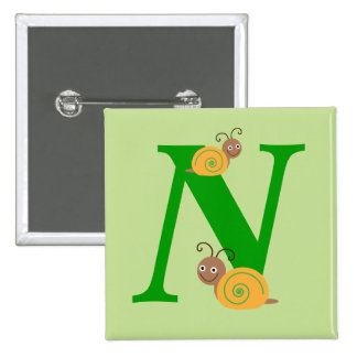 Monogram letter N brian the snail kids button, pin