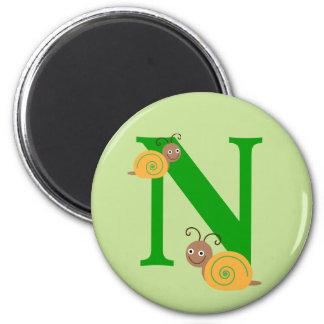 Monogram letter N brian the snail kids magnet