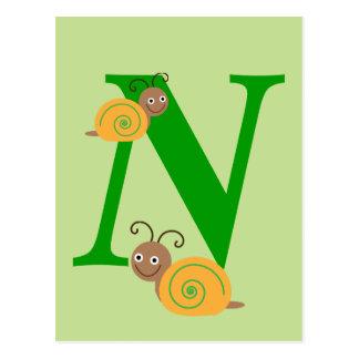 Monogram letter N brian the snail kids postcard