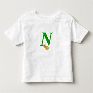 Monogram letter N brian the snail toddler t-shirt