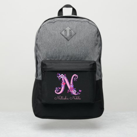 Monogram letter N hearts flower custom name Port Authority® Backpack