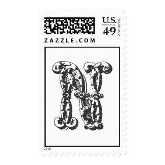 Monogram Letter N in Black Stamps
