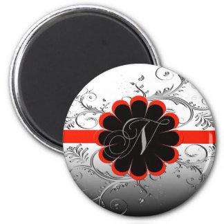 Monogram Letter N Red 2 Inch Round Magnet